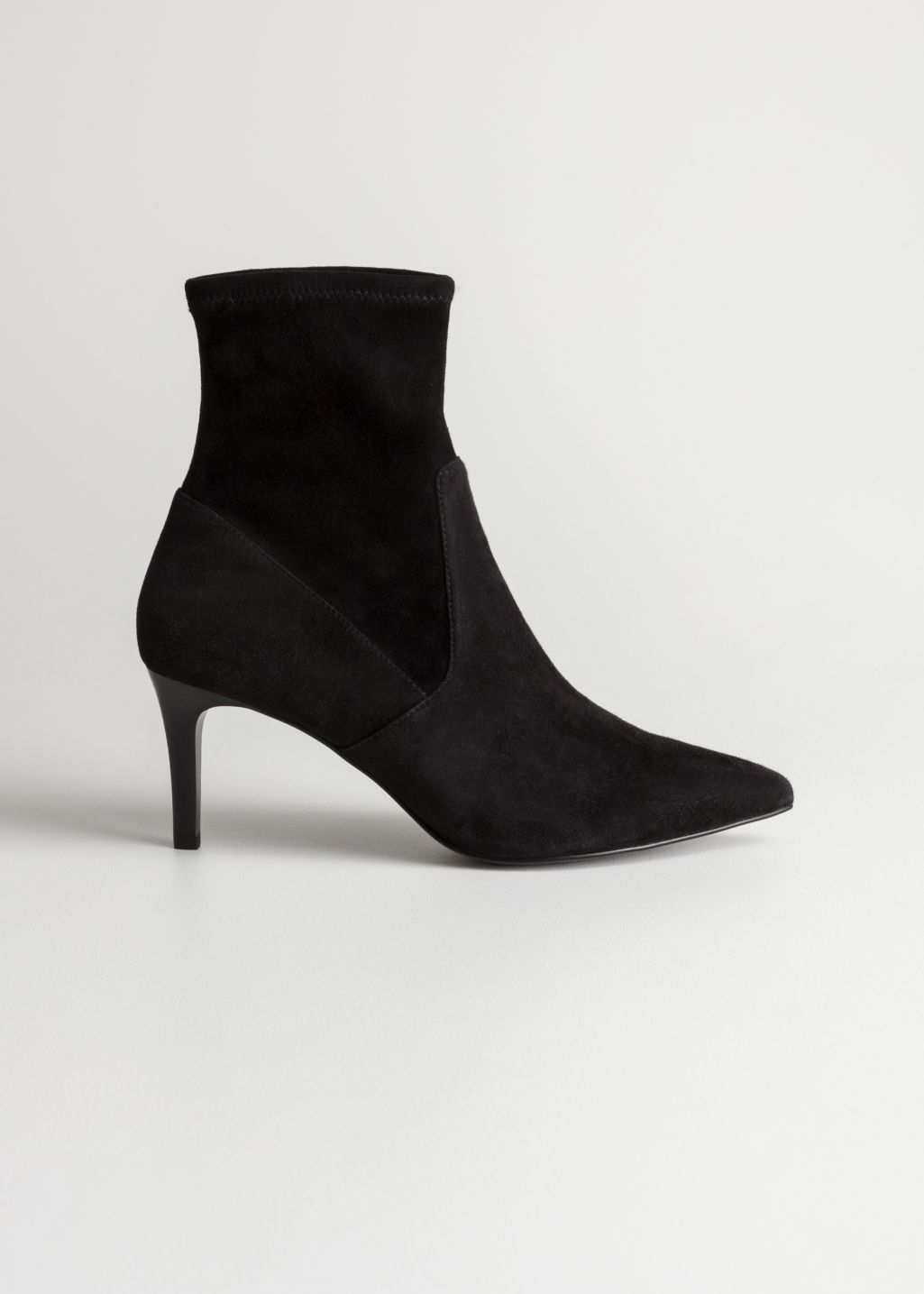Front Image Of Stories Stretch Suede Ankle Boots In Black Kitten Heel Boots Kitten Heel Ankle Boots Boots