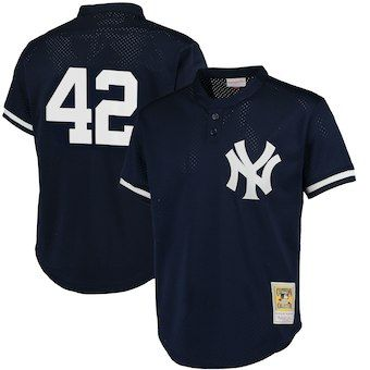 25feb246ce2a6 Mariano Rivera New York Yankees Mitchell   Ness Cooperstown Mesh Batting  Practice Jersey - Navy