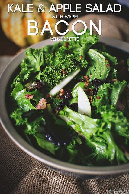 Kale & Apple Salad with Warm Bacon Vinaigrette  - girl carnivore
