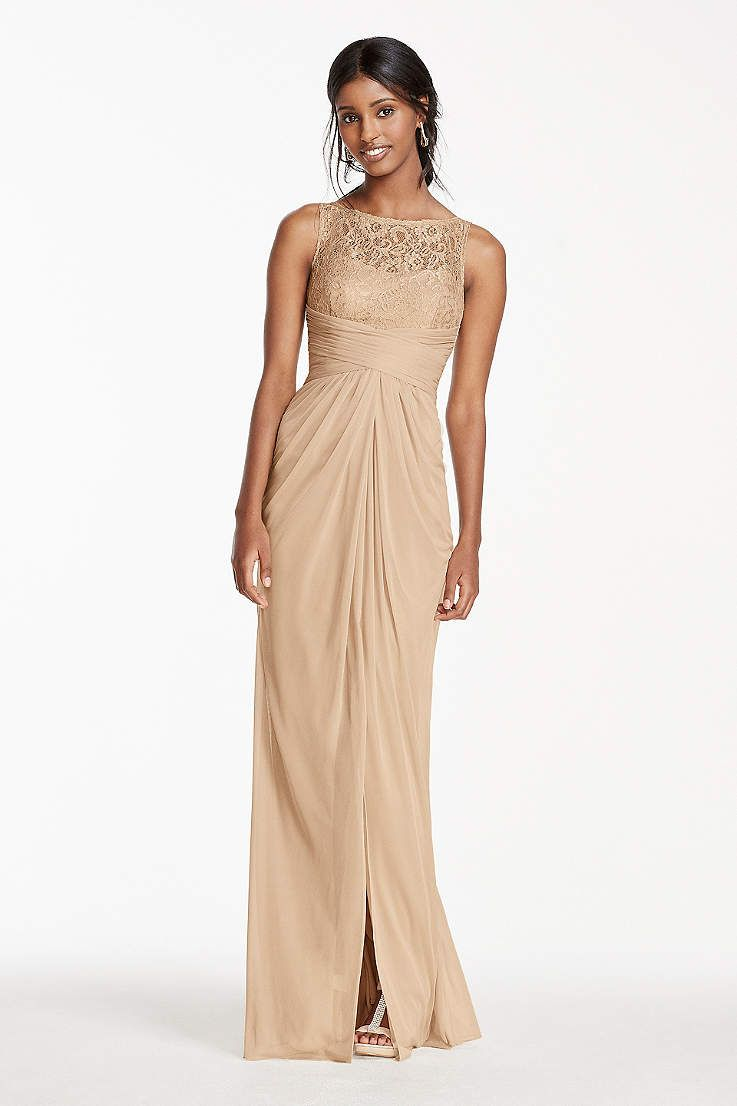 67fdd982 Picturing your bridal party in pretty sequin bridesmaid dresses? Shop  David's Bridal sparkly bridesmaid dresses in gold & silver all in short &  long styles!
