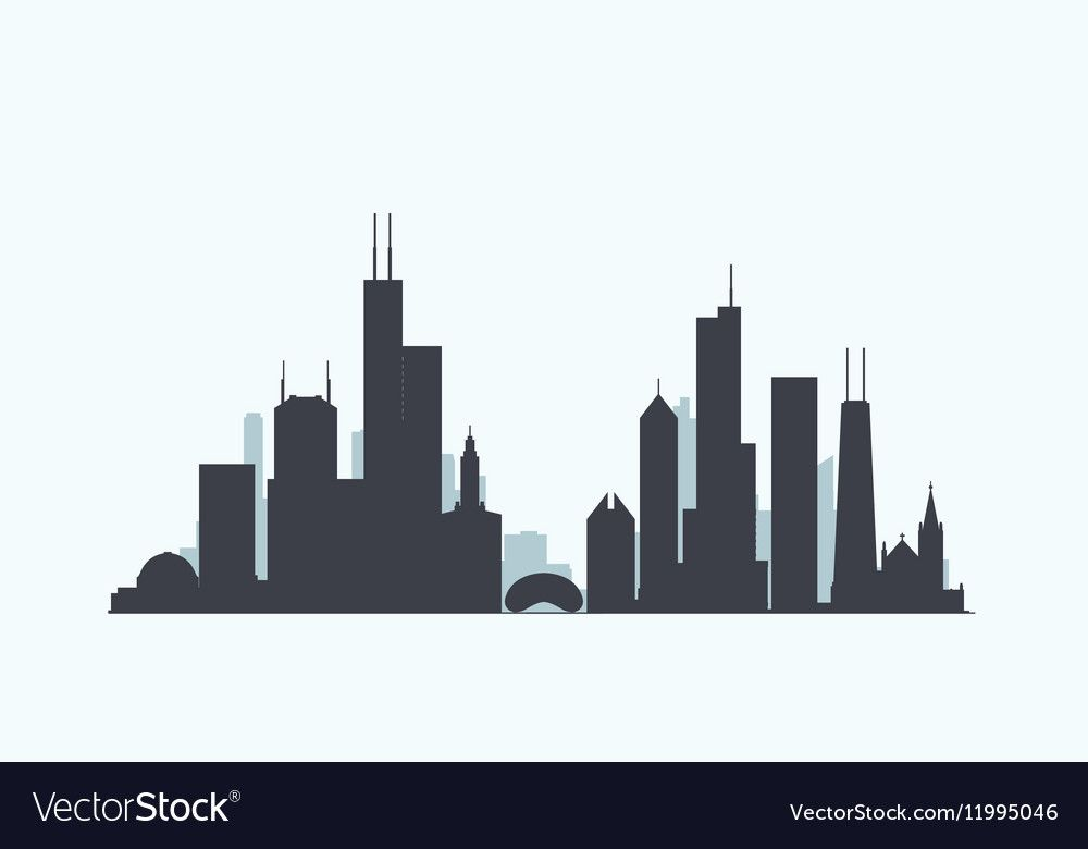 Vector Graphics Flat City Illustration Eps 10 Download A Free Preview Or High Quality Adobe Chicago Skyline Tattoo Chicago Skyline Silhouette Skyline Tattoo