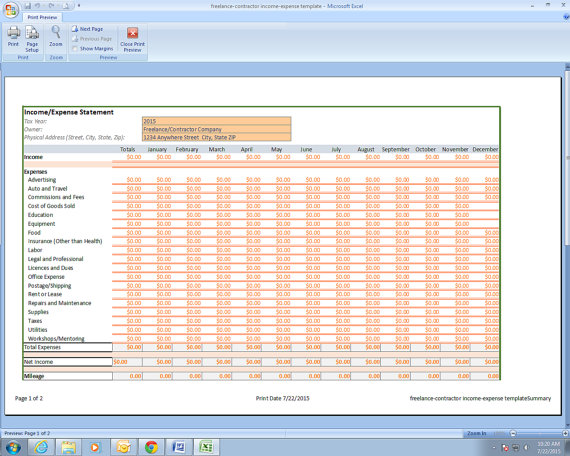 Freelance Photographer Income and Expenses Excel Spreadsheet - spreadsheet template freelance