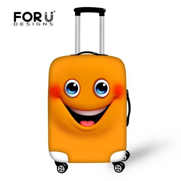 Non-woven Emoji Design Travel Trolley Accessories Elastic Waterproof Luggage Set Cover 18-30inch Suitcase Protect Dust Cover