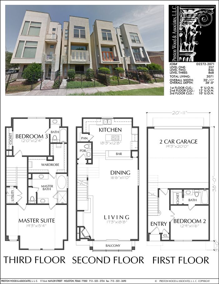 Three Story Townhouse Plan D2272-2071   Town house plans ...