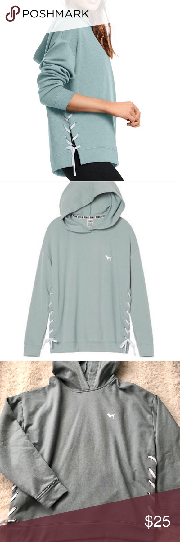 55fbe6b1240 PINK Victoria s Secret lace up hoodie Very trendy and comfy hoodie in a very  pretty sage mint color. Subtle signature dog logo and lace up side details.