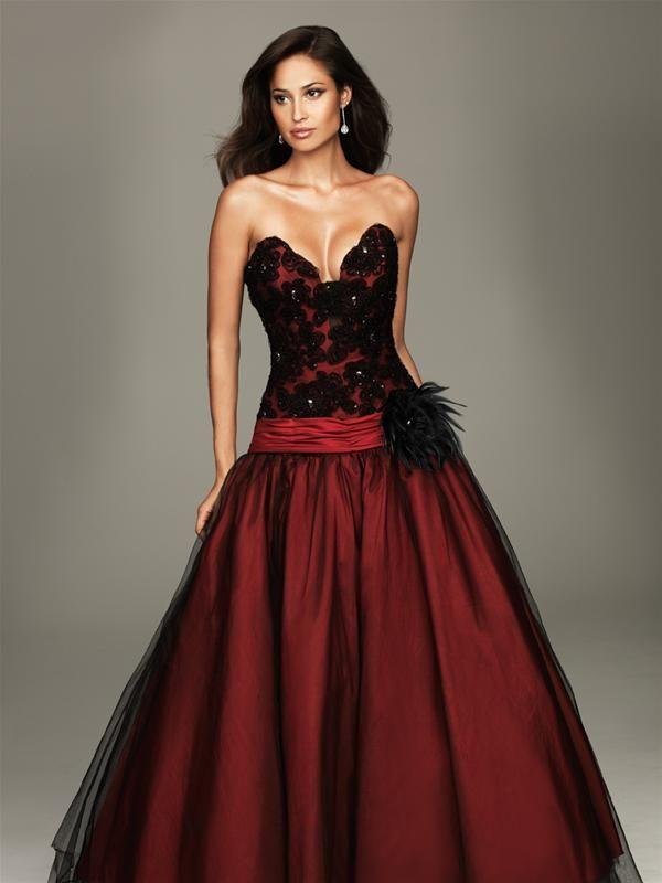 resultado de imagen de traje fiesta rojo con encaje negro | moda y