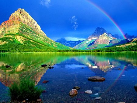 rainbow in the blue sky hd wallpapers wallpapers for