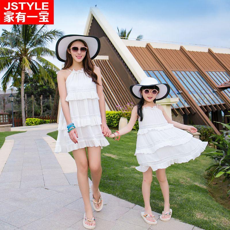2016 Correspondant Mère Fille Blanc Robes Bé Fille et  Mère Chiffe Maxi Robe Outfit Ma e Filha Casual Robes de Vacances