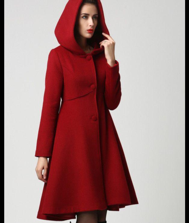 quality design 48fe5 fdddb Wickeljacken - Red Hood-Frau Mantel-Red Coat-Wolle-Mantel ...