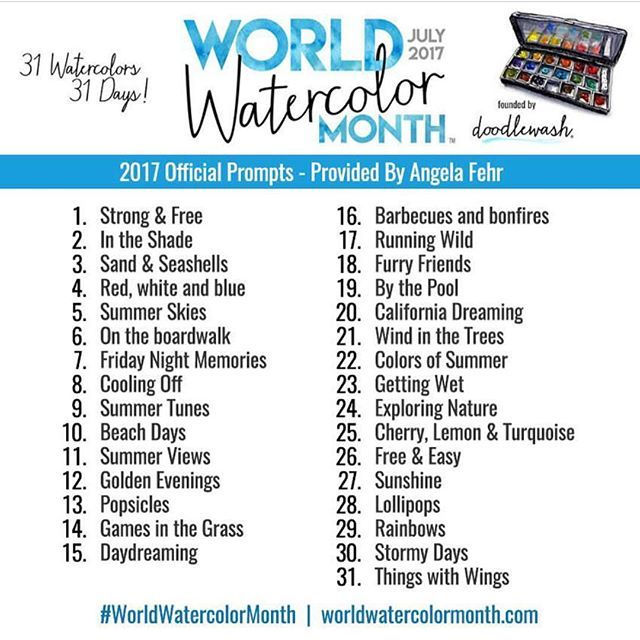 World Watercolor Month Gallery In 2020 Drawing Challenge