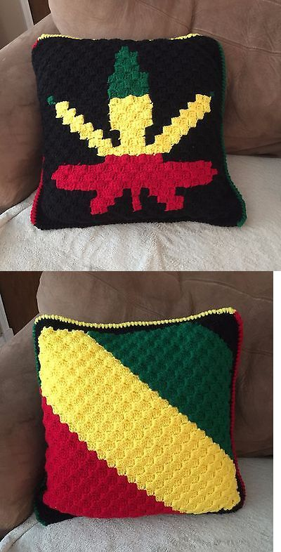 Pillows 83902: Hand Crocheted Reggae, Pot Leaf Pillow - 2 Sided - 19 ...