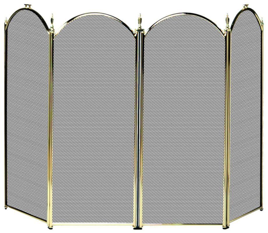 Uniflame S41010pb 32 High 4 Fold Polished Brass Screen Polished