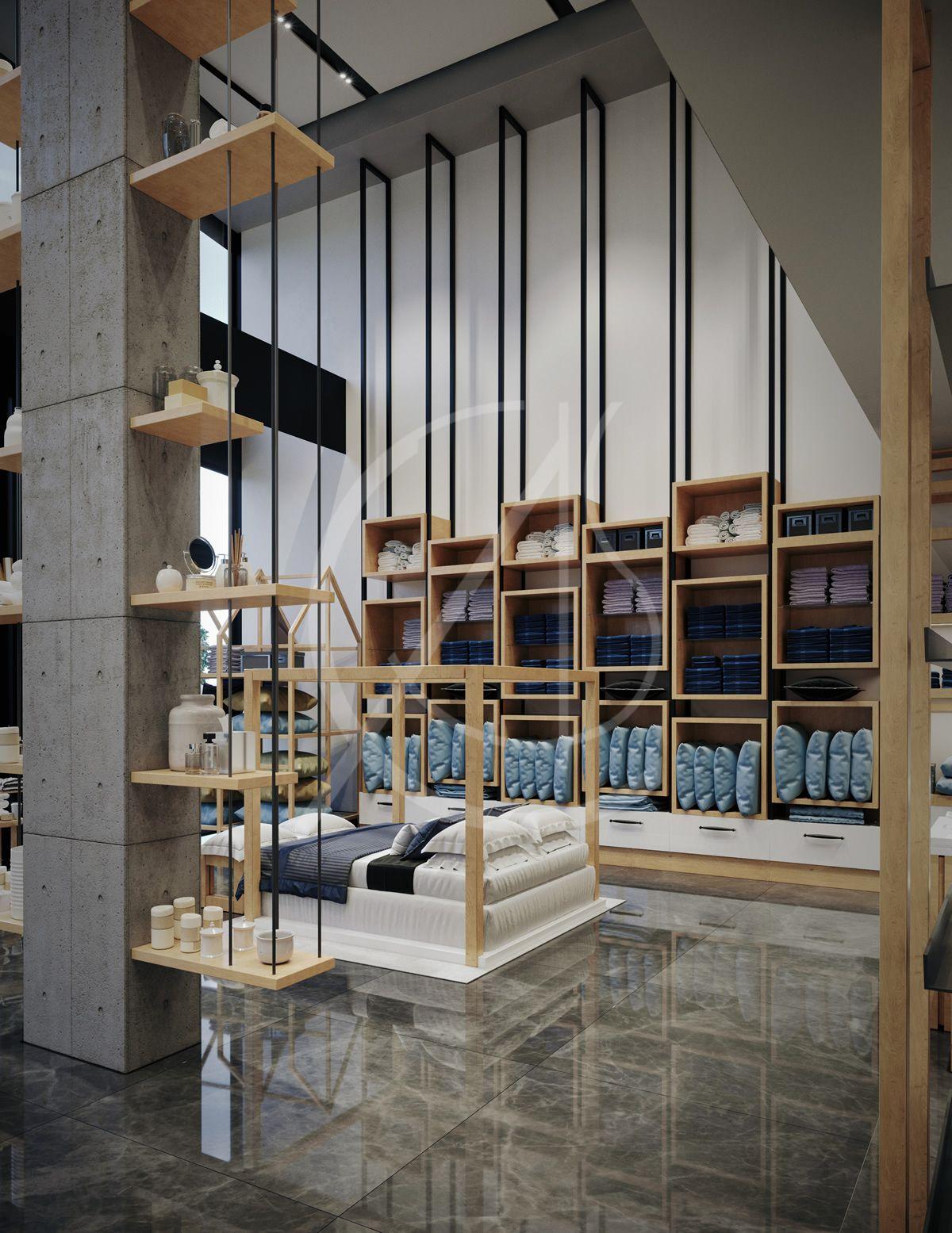 bedding store interior design - retail design in saudi