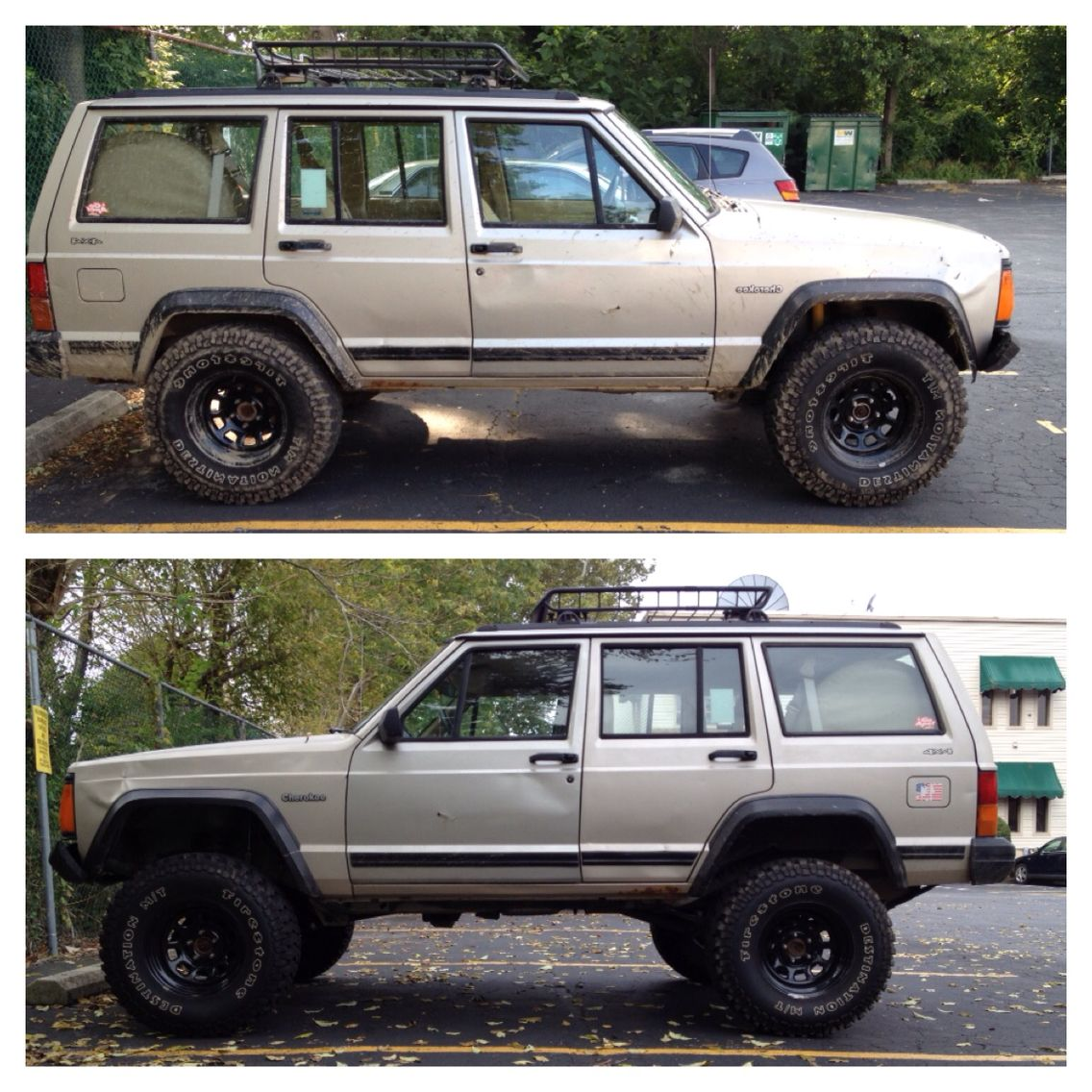 before and after lift jeep jeep cherokee xj jeep jeep cherokee. Black Bedroom Furniture Sets. Home Design Ideas