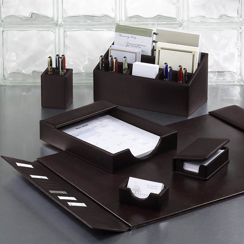 Bomber Jacket Desk Set, Six Pieces - Leather Desk ...