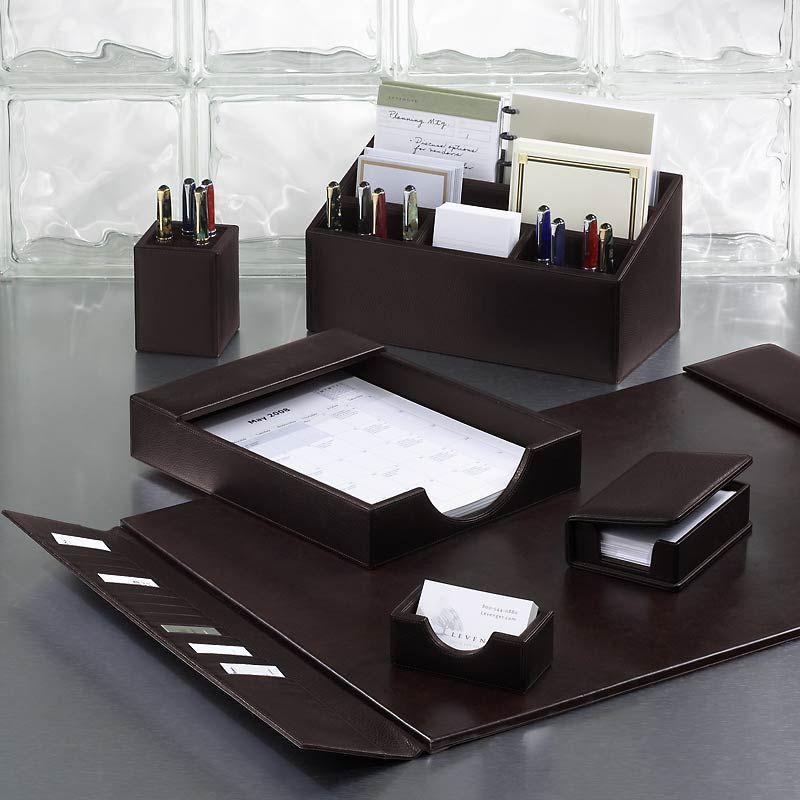 bomber jacket desk set six pieces leather desk accessories rh pinterest com Desk Decor executive desk accessories set
