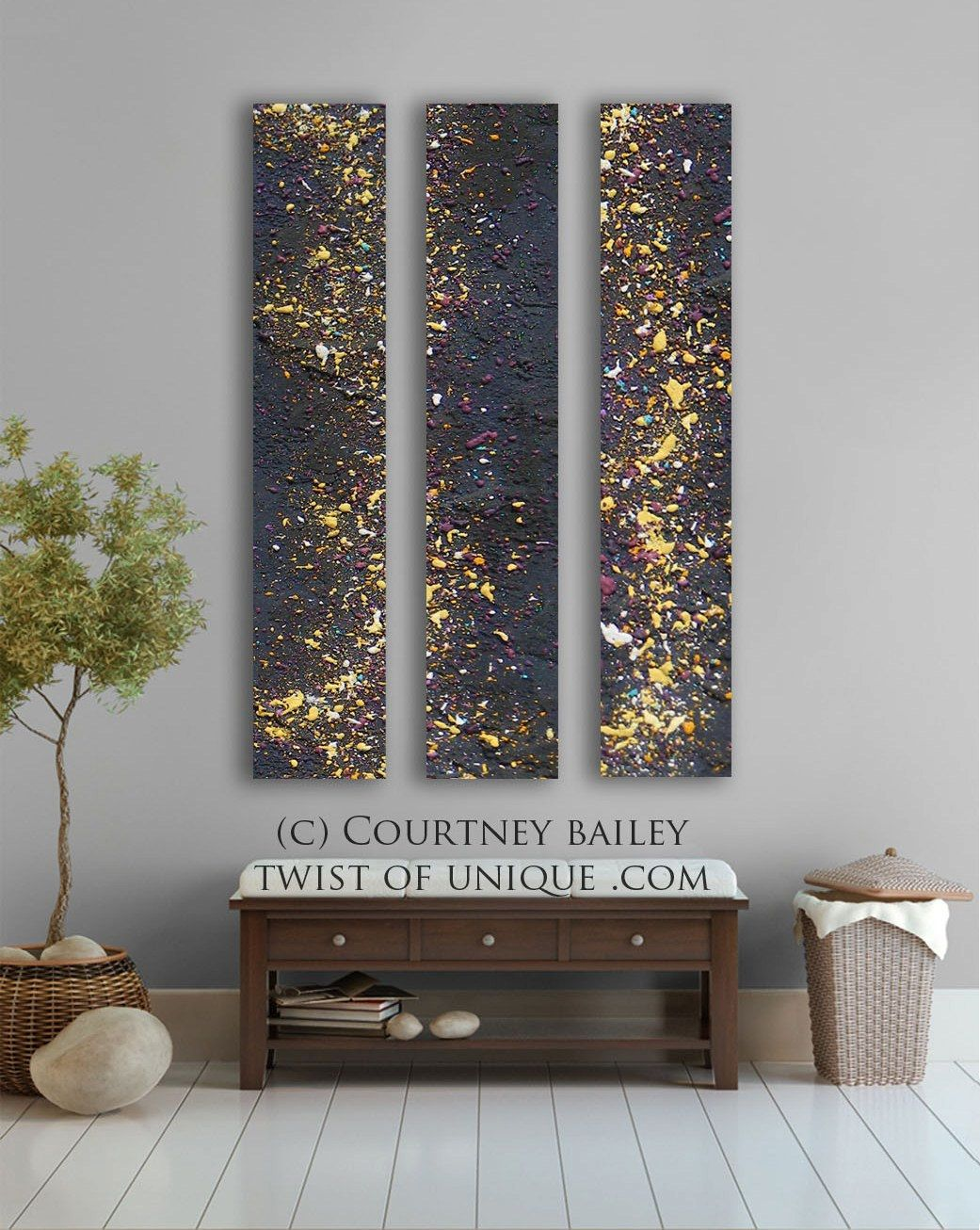 Night Sky Abstract Painting Stars 4 Panel Custom