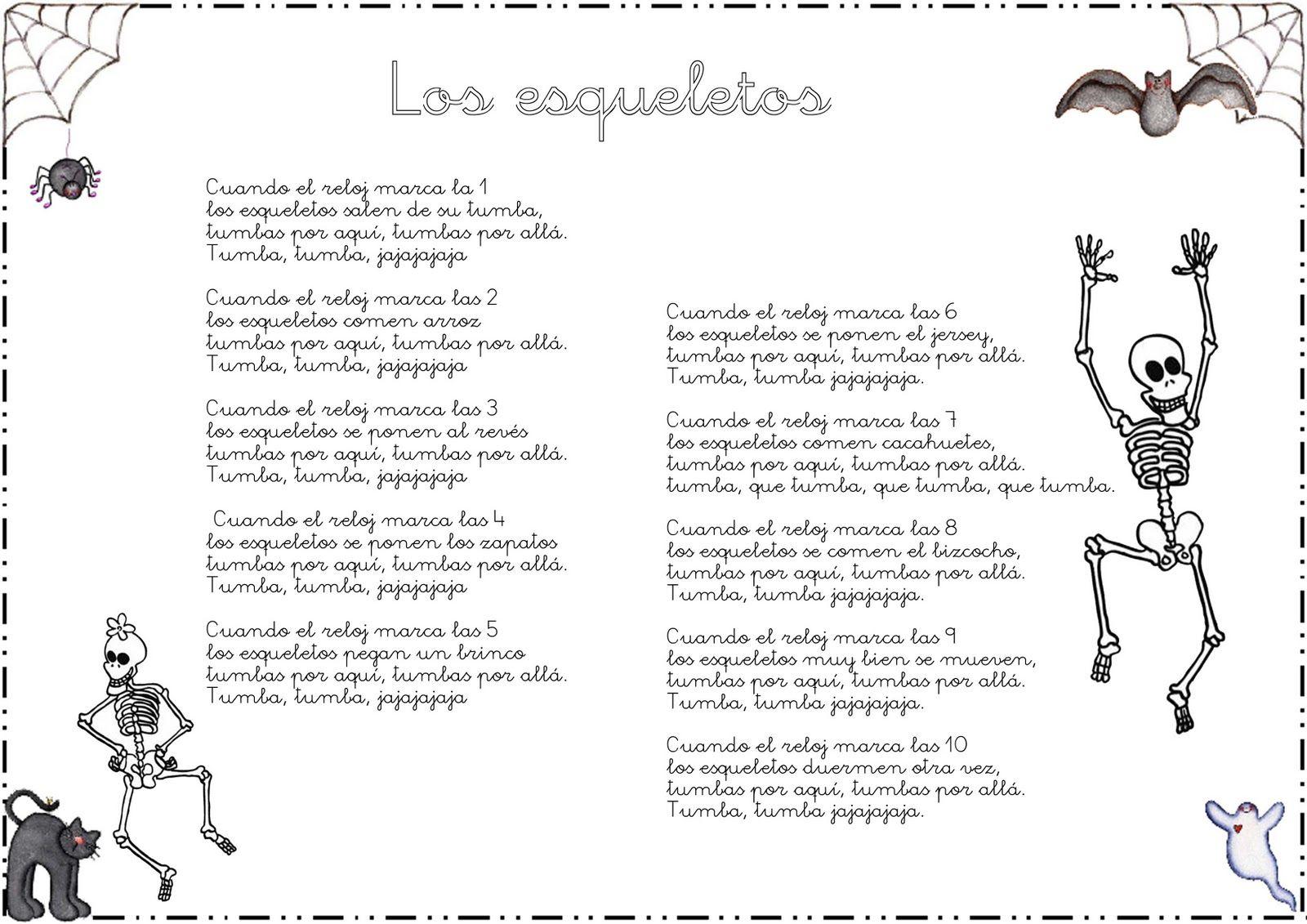 Cancion De Los Esqueletos Letra Canciones Clase De Español Reloj