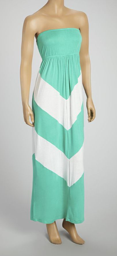 fa5435552712 Green & White Chevron Strapless Maxi Dress | Fashion | Vetements ...
