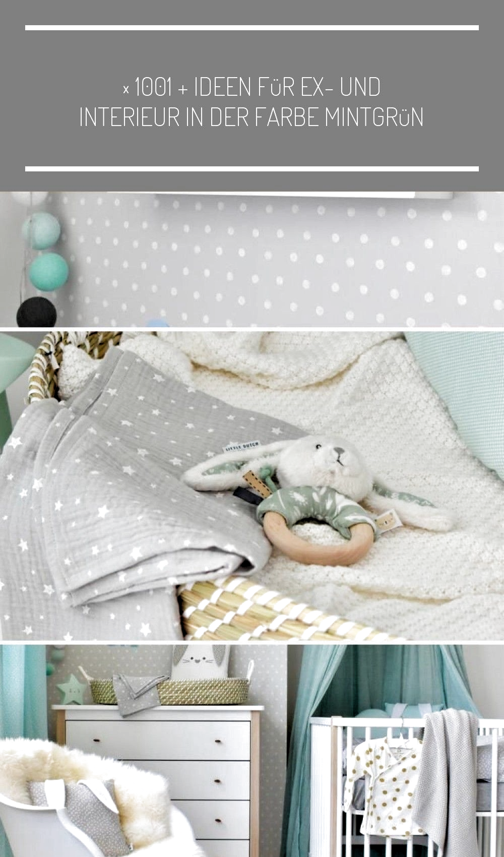 Kleines Babyzimmer mit Hasenmotto in Mint, Jade und Grau #Babyzimmerwandgestaltu...