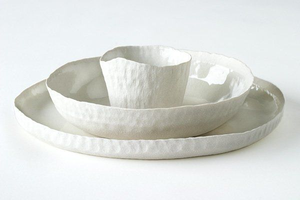 Hand modeled porcelain plates in pure white   porcelain . Porzellan . porcelaine   Handmade in Germany: Doris Bank