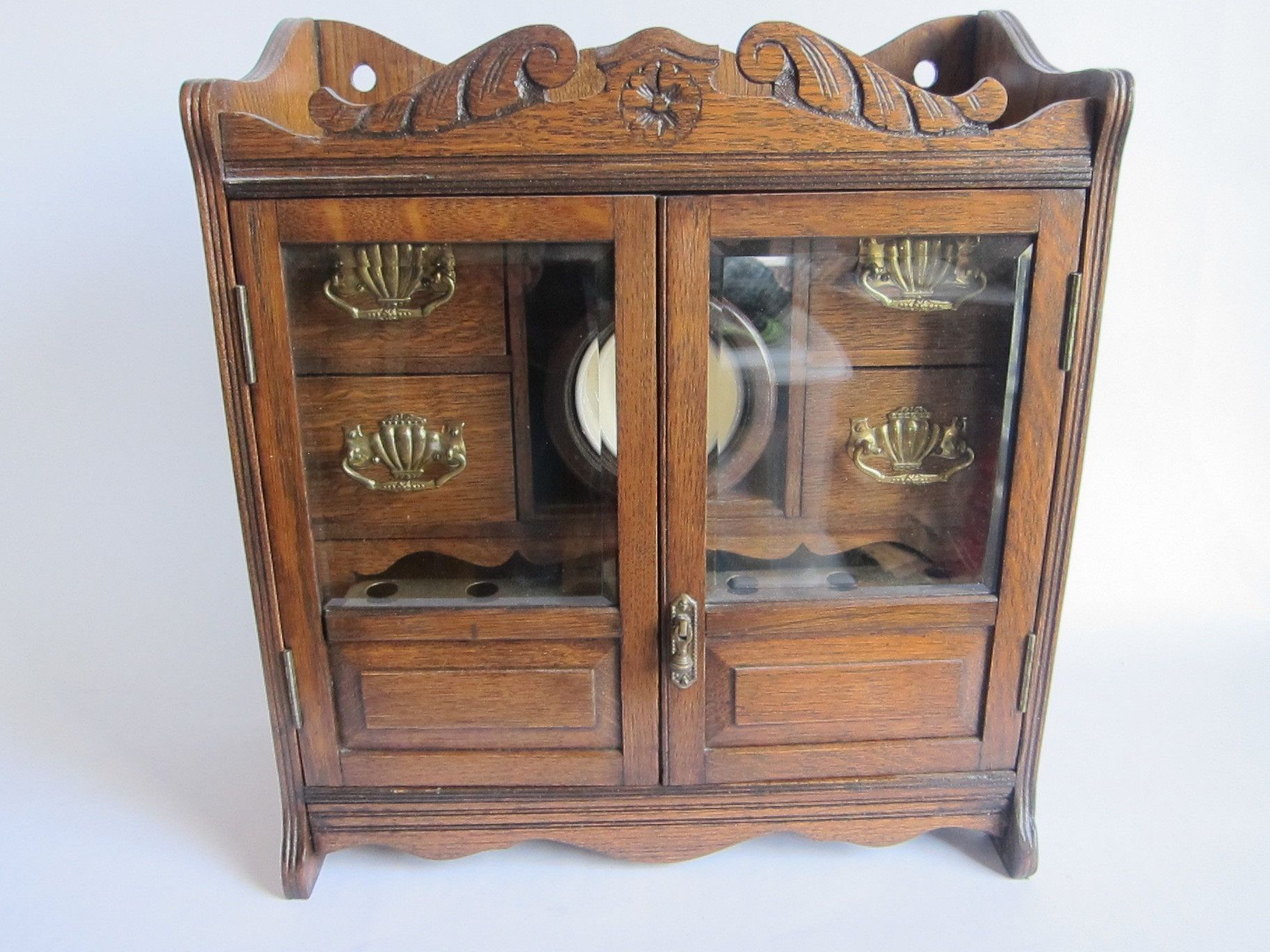 Antique Hanging English Oak Smoking Cabinet  pipes and