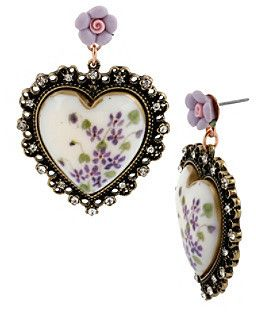 941d1e0f7 Betsey Johnson Purple Floral Printed Heart Drop Earrings on shopstyle.com