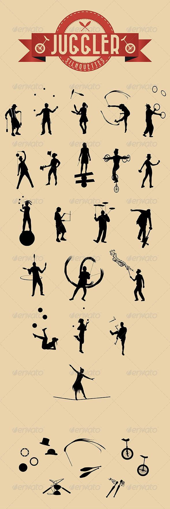 21 Jugglers Vector Silhouettes GraphicRiver 21 Jugglers