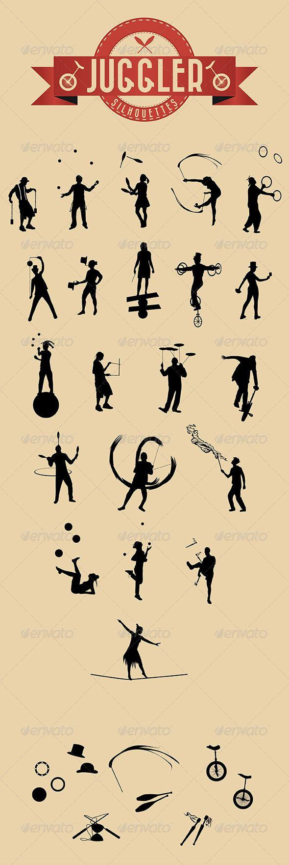 21 Jugglers Vector Silhouettes - Characters Vectors