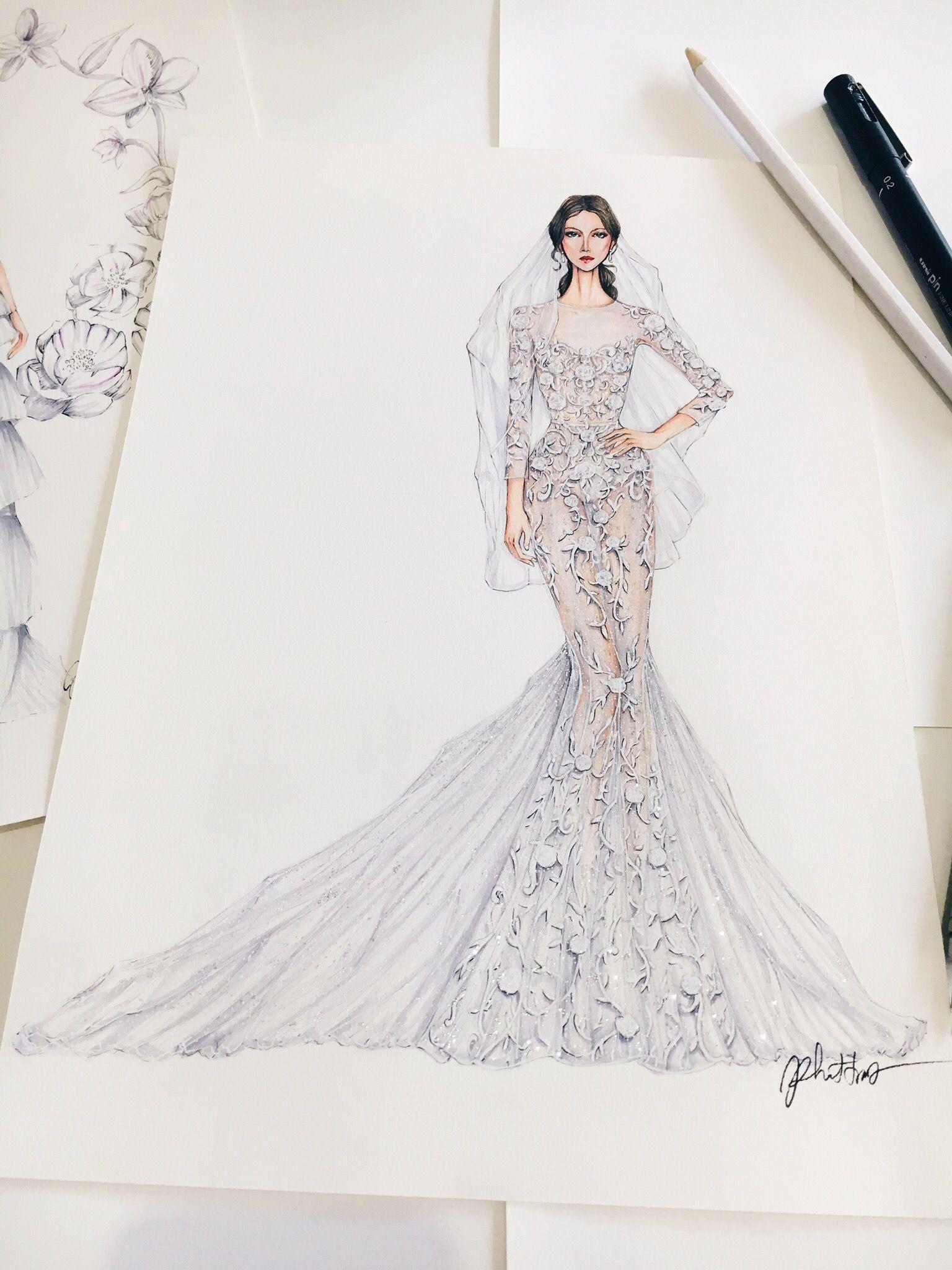 Sketching Draw Dress Drawing Bridal Weddingdress Fashion Fashionsketch
