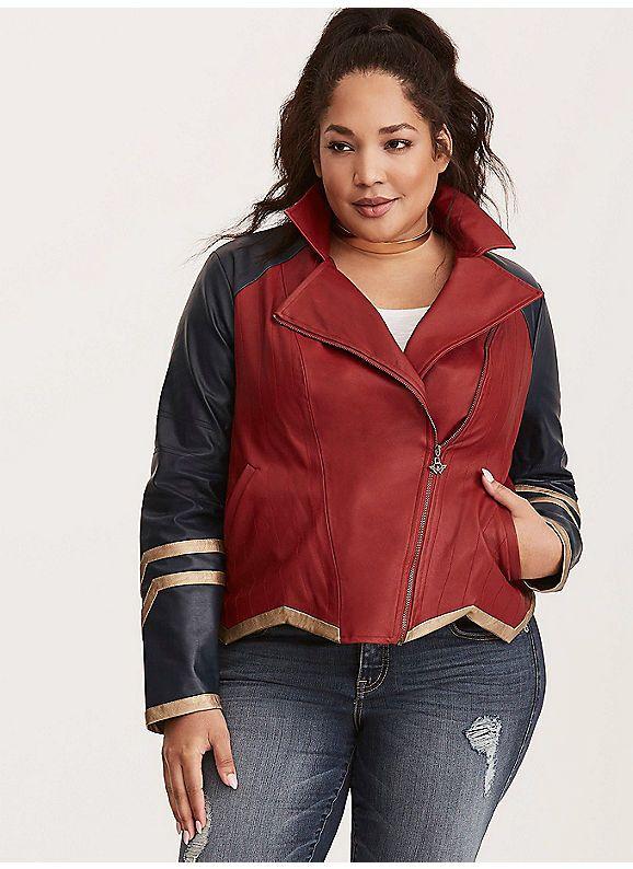 8dcd4308362 TORRID   Her Universe Wonder Woman Faux Leather Moto Jacket ...