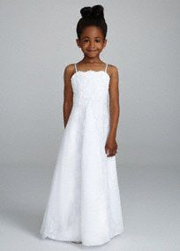 Sweet and delicate beaded lace dress is perfect for any flower girl!  Spaghetti strap princess A-line gown features beaded lace detail.  Split front skirt with tulle overlay finishes off the look.  Available in select stores stores and online in White. Not available for special order.  Fully lined. Back zip. Imported polyester. Dry clean only.