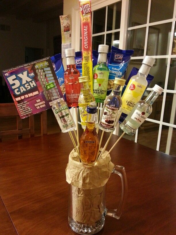 I made this mini alcohol gift for my office fundraiser. # ...