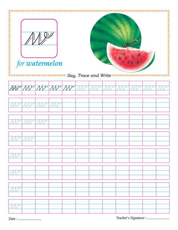 Cursive small letter w practice worksheet | cursive | Pinterest