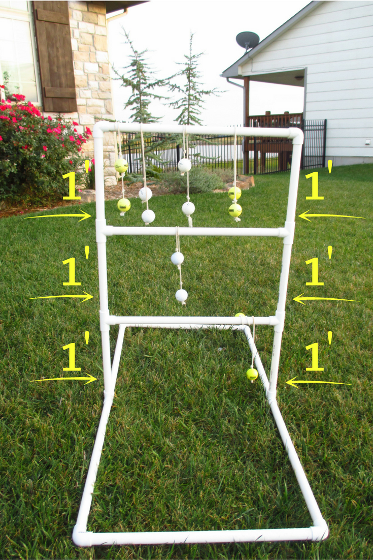 How To Make An Easy Ladder Golf Set Using Pvc Ladder Golf Ladder Golf Game Golf Ball Crafts