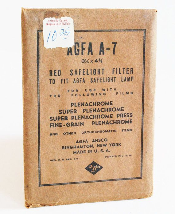 Rare Vintage Agfa A-7 Red Safelight Filter in Original by MagsandI