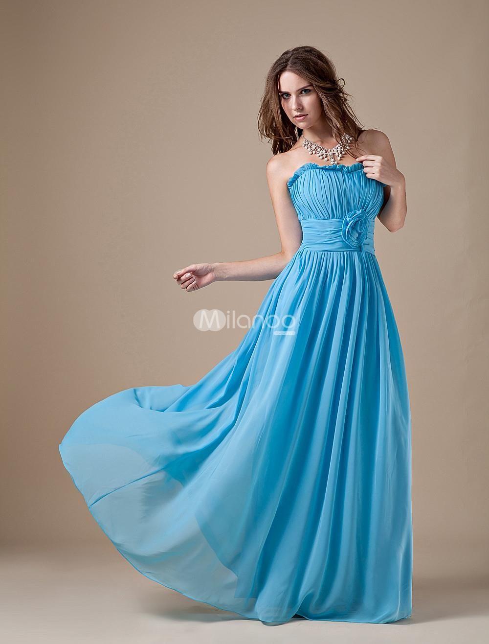 Sweet Caesious Chiffon A-line Strapless Bridesmaid Dress. Maxi ...