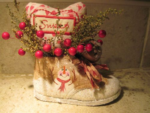 HAND CRAFTED PAINTED SNOWMAN SWEET ANNE HERB VALENTINE IN OLD BABY SHOE.