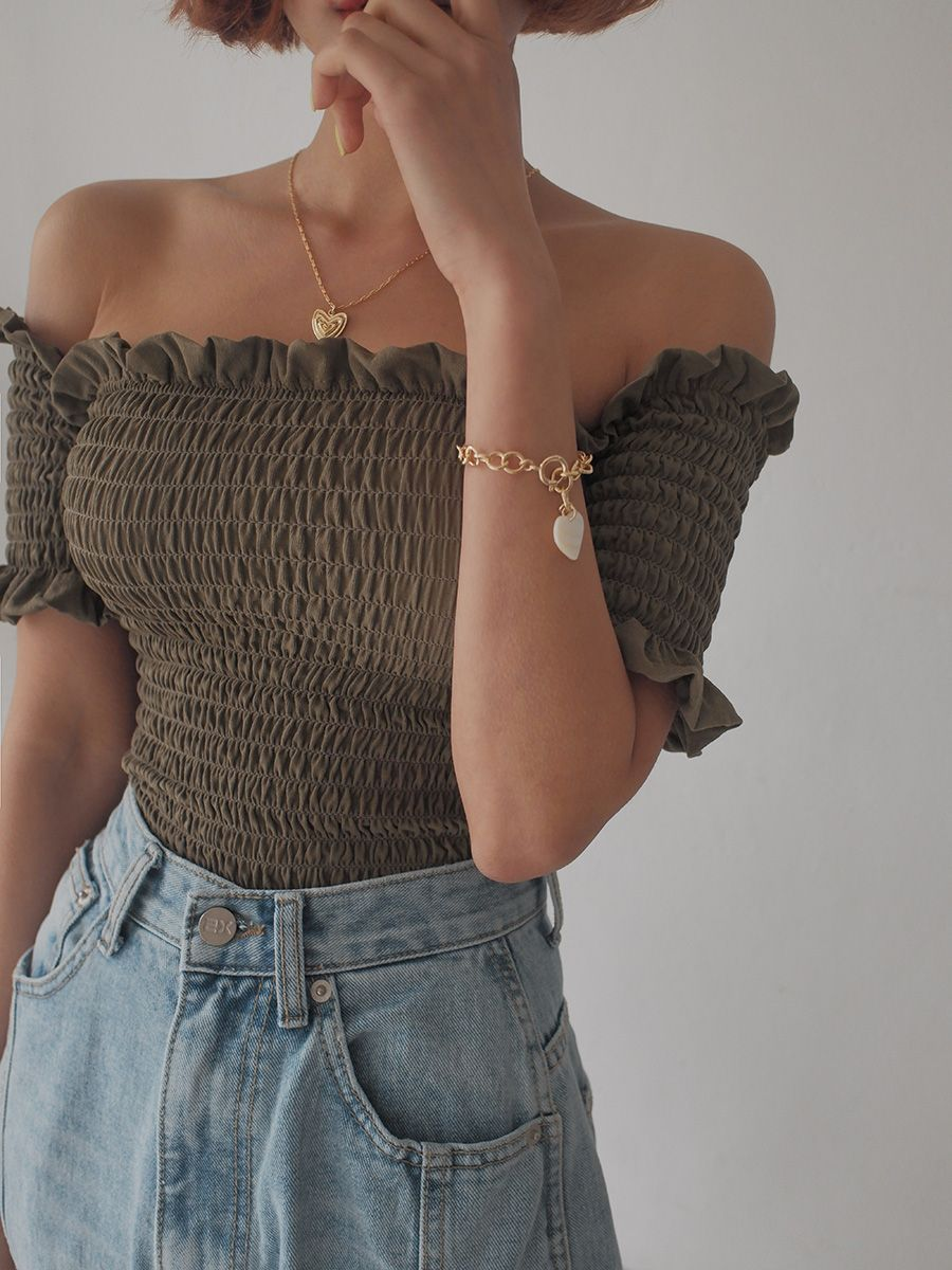 f8dbdd864570d Shirred Off-Shoulder Frilled Top in 2019