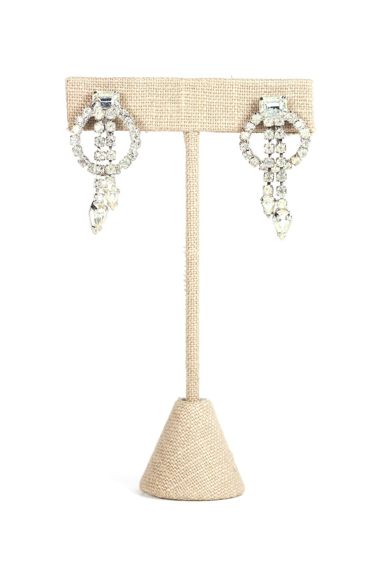 50's__Weiss__Rhinestone Drop Clip-on Earrings