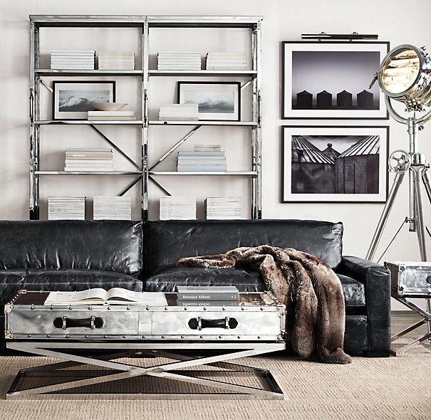 Restoration Hardware Maxwell Leather Sofa In Slate