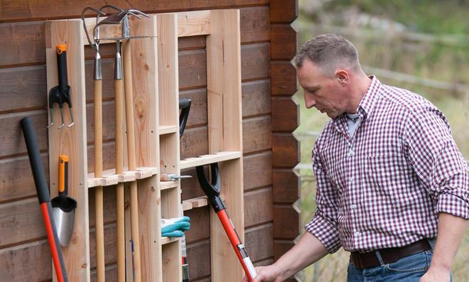 Gerätehalter Halte durch, Gerätehaus selber bauen