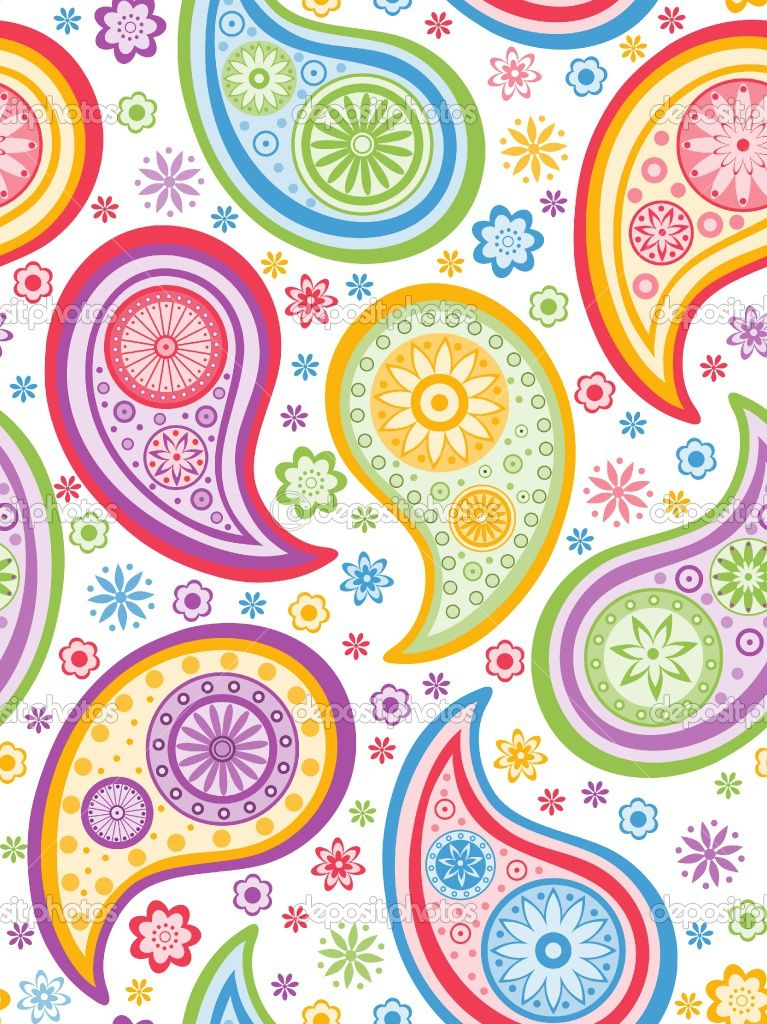 Free Paisley Designs | Colorful seamless background with a ...