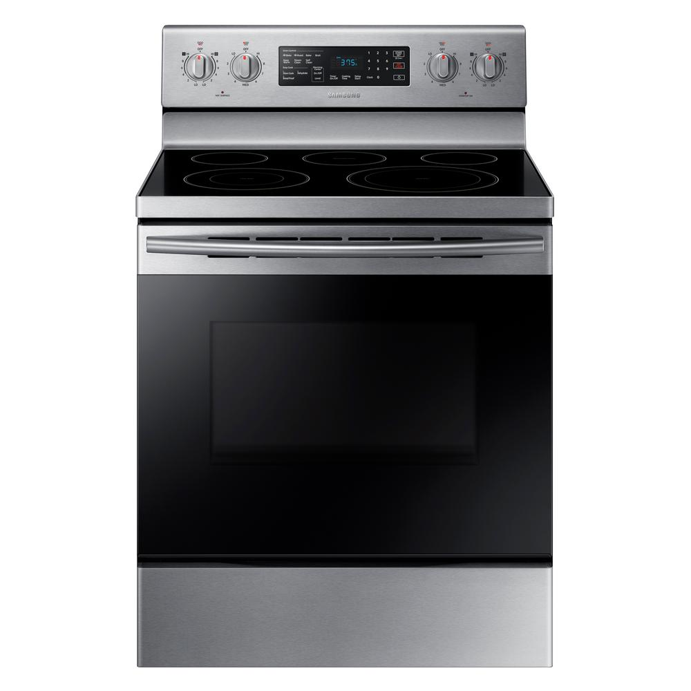 Samsung 30 In 5 9 Cu Ft Single Oven Electric Range With Self Cleaning And Convection Oven In S Freestanding Electric Ranges Stainless Steel Oven Single Oven