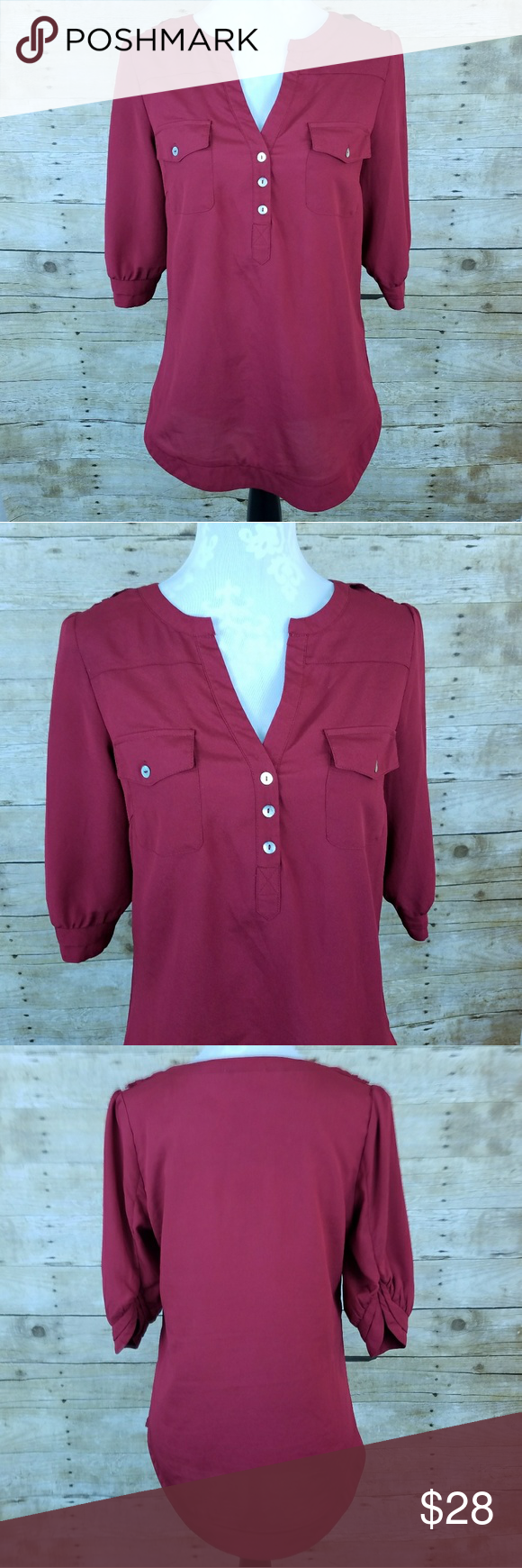 "41 Hawthorne Stitch Fix Red Filbert Popover Top Women's 41 Hawthorne ""Filbert"" Blouse 100% polyester  Size medium Gently used EUC   Measurements laying flat:  Shoulder to shoulder: 14"" Underarm to underarm: 17"" Length: 27"" 41 Hawthorne Tops Blouses"