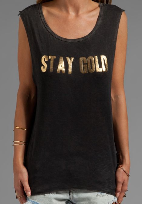 FEEL THE PIECE x Tyler Jacobs Stay Gold Muscle Tank in Transylvania Black/Gold Foil - New