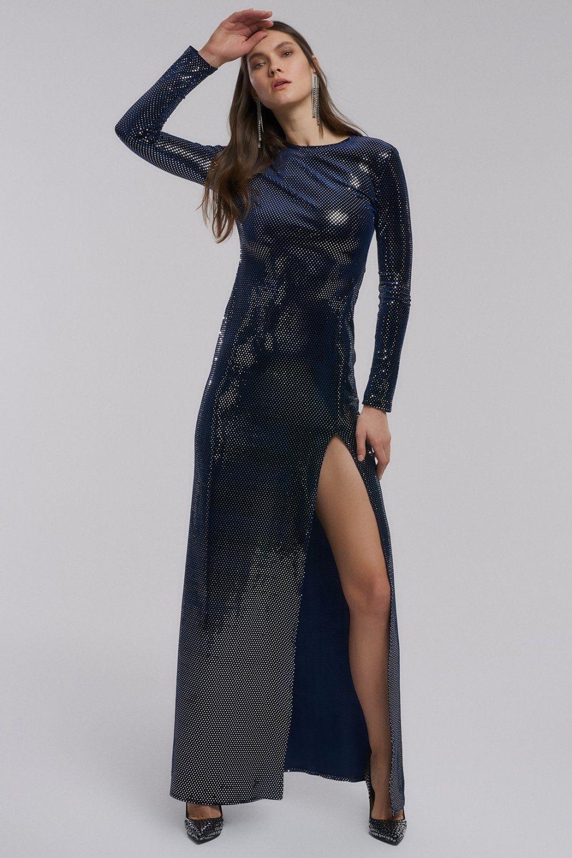 People By Fabrika Sirt Dekolteli Lacivert Gumus Pullu Kadife Uzun Abiye Elbise Elbisebul Elbise Moda Stilleri The Dress