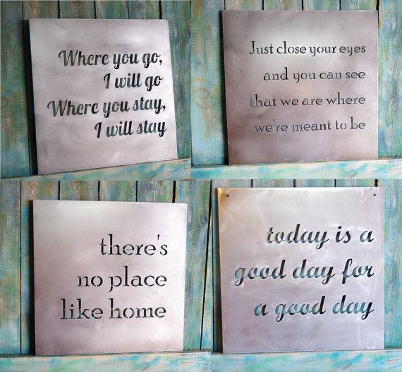 Custom Metal Quote Sign And Sayings Inspirational Personalized Sign Steel Wall Art Decor Metal Quote Metal Signs Decor Metal Tree