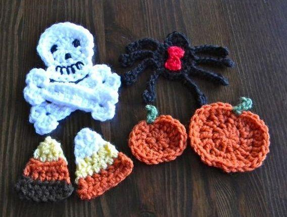 Free Pattern For Halloween Crochet Appliques Halloween Pinterest