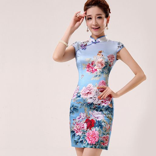 342159657 Feature: Silk crepe de; peony floral printed Blue heavy silk; stretchable;  with slit; stand up mandarin collar; cap sleeve